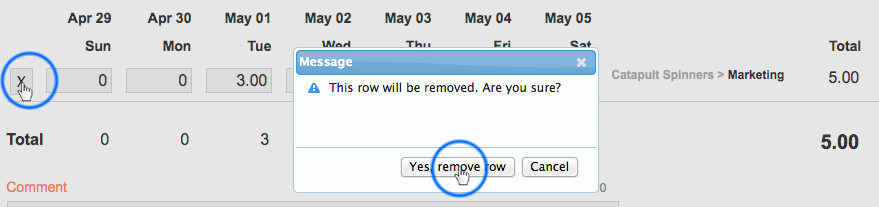 remove timesheet row